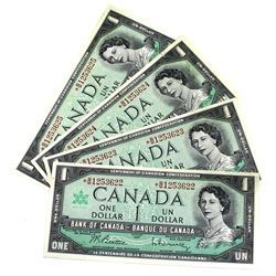 1967 BC-45bA-i Bank of Canada $1 Replacement Notes Beattie-Rasminsky Signatures with Consecutive Ser