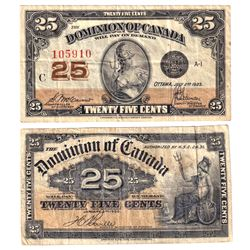 Pair of 25c Dominion of Canada Notes - 1900 DC-15b, Boville, F-VF (Holes) & 1923 DC-24c , McCavour,