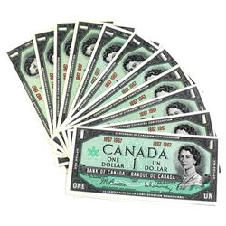 1867-1967 Bank of Canada Centennial Commemorative No Serial Number Notes in UNC+. 12pcs