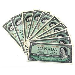 1954 Bank of Canada $1 Notes All Different Prefixes Except 2x J/M - 8x Beattie-Rasminsky & 2x Bouey-