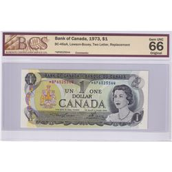 BC-46aA 1973 Bank of Canada Replacement $1, Lawson-Bouey S/N: *NP6525544. BCS Certified  GEM UNC-66