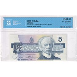 BC-56c 1986 Bank of Canada $5, Bonin-Thiessen S/N: GPW2178347 CCCS Certified GEM UNC-67!