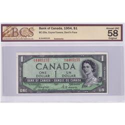 BC-29a 1954 Bank of Canada  Devil's Face $1, Coyne-Towers S/N: B/A4465155. BCS Certified AU-58 Origi
