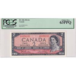 BC-38b 1954 Bank of Canada Modified $2, Beattie-Rasminsky S/N: G/R0356241. PCGS Certified CUNC-63 PP