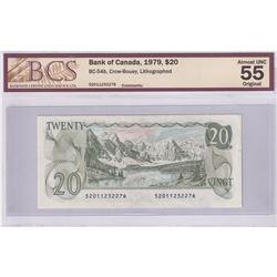 BC-54b 1979 Bank of Canada $20, Crow-Bouey S/N: 52011232276 BCS Certified AU-55 Original.