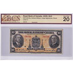 630-18-04a 1935 Royal Bank of Canada $10, Large Signatures, Dobson-Wilson S/N: 346346-C. BCS Certifi