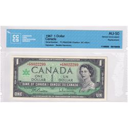 BC-45bA-i 1967 Bank of Canada Replacement $1, Beattie-Rasminsky S/N: *F/P8022299 CCCS Certified AU-5