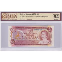 BC-47aA-I 1974 Bank of Canada Replacement $2, Lawson-Bouey S/N: ABX0457205. BCS Certified CUNC-64 Or