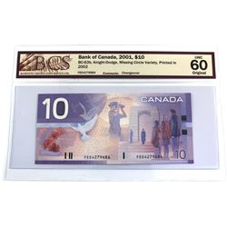 BC-63b 2001 Bank of Canada $10, Missing Circle Variety, Knight-Dodge S/N: FEE4279684. BCS Certified