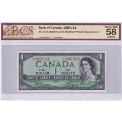 BC-37aA 1954 Bank of Canada Modified Replacement $1, Beattie-Rasminsky S/N: *A/A0051644. BCS Certifi