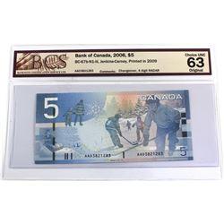BC-67b-N1-iii 2006 Bank of Canada $5, Jenkins-Carney, Printed in 2009, 4 Digit RADAR S/N: AAD3821283