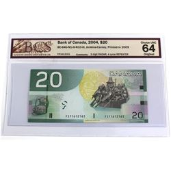 BC-64b-N1-iii-N10-iii 2004 Bank of Canada $20, Jenkins-Carney, Printed in 2009, 3 Digit RADAR, 4 Cyc