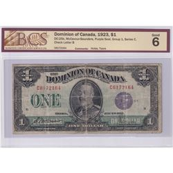 DC-25k 1923 Dominion of Canada $1, McCavour-Saunders, Purple Seal, Group 1, Series C, Check Letter B