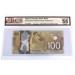 BC-73aA-N1-iii 2011 Bank of Canada Replacement $100, Macklem-Carney, 3 Digit RADAR S/N: EKL4284824,