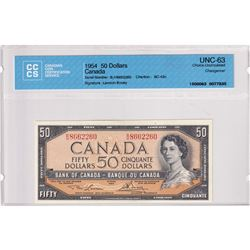 BC-42c 1954 Bank of Canada $50, Lawson-Bouey, Changeover, S/N: B/H8662260, CCCS Certified CUNC-63.