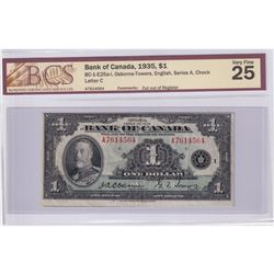 Cut Out of Register Error! BC-1-E25a-i 1935 Bank of Canada $1, Osborne-Towers, English, Series A, Ch