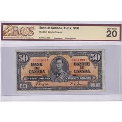 BC-26c 1937 Bank of Canada $50, Coyne-Towers, Changeover, S/N: B/H4641097, BCS Certified VF-20.