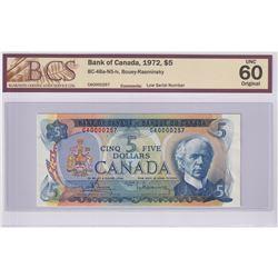 Low Serial Number! BC-48a-N5-iv 1972 Bank of Canada $5, Bouey-Rasminsky, S/N: CA0000257, BCS Certifi