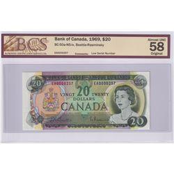 Low Serial Number! BC-50a-N5-iv 1969 Bank of Canada $20, Beattie-Rasminsky, S/N: EA0000257, BCS Cert