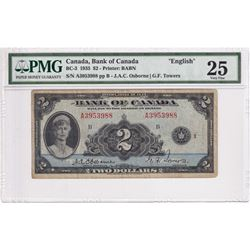 BC-3 1935 Bank of Canada $2, Osborne-Towers, S/N: A3953988, PMG Certified VF-25.