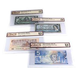 Lot of 4x Bank of Canada Notes - BC-21d 1937 $1 Prefix E/N BCS F-15 (Tears), BC-39c 1954 $5 Prefix T