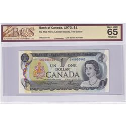 Low Serial Number! BC-46a-N5-iv 1973 Bank of Canada $1, Lawson-Bouey, S/N: GM0000440, BCS Certified