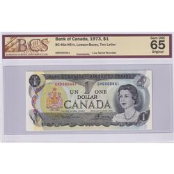 Low Serial Number! BC-46a-N5-iv 1973 Bank of Canada $1, Lawson-Bouey, S/N: GM0000441, BCS Certified