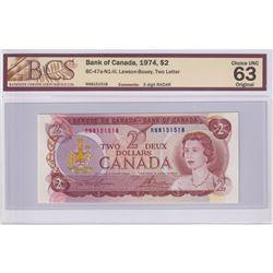 BC-47a-N1-iii 1974 Bank of Canada $2, Lawson-Bouey, Two Letter, 3 Digit RADAR S/N: RN8151518, BCS Ce