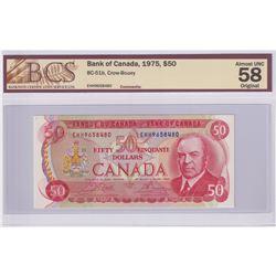 BC-51b 1975 Bank of Canada $50, Crow-Bouey, S/N: EHH9658480, BCS Certified AU-58 Original.