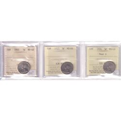 1922, 1925 & 1926 Near 6 Canada 5-cent ICCS Certified - 1922 MS-62, 1925 VG-10 & 1926 Near 6 VG-10.