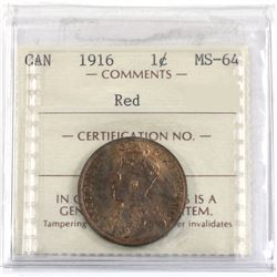 1916 Canada 1-cent ICCS Certified MS-64 Red.