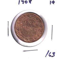 1908 Canada 1-cent UNC+ Red Brown.