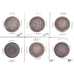 Estate Lot of Newfoundland 50-cent - 1873 F, 1881 VG, 1885 VG, 1899 G, 1917C VG & 1918C VG (Coins ma