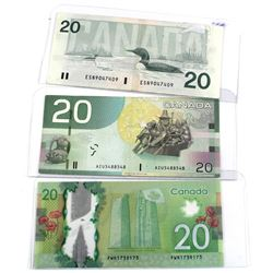 1991, 2005 & 2012 Bank of Canada $20 RADAR and Repeater Serial Number Notes - 1991 4 Digit RADAR ESN