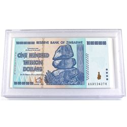 2008 Zimbabwe 100 Trillion Dollar Banknote Gem Uncirculated.