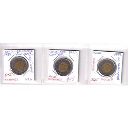Estate Lot of Major Toonie 'Errors' Dated 1997, 1999 & 2002. Featured errors include core off centre