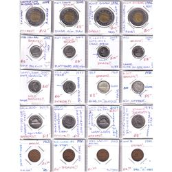 Estate Lot of Assorted Canada 'Error' Coins - 4x 1-cent, 4x 5-cent, 8x 10-cent & 4x $2. All errors l