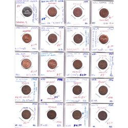 Estate Lot of Assorted Canada 'Error' Coins - 19x 1-cent, 1x 5-cent, 6x 10-cent, 30x 25-cent, 1x Loo