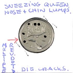 "Estate Lot - 2016 Canada 25-cent with Major 'Errors' Including Rare ""Stitched Lips"", Die Cracks, Dot"