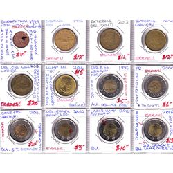 Estate Lot of Assorted Canada 'Error' Coins - 1-cent, 5x Loon $1 & 6x $2. All errors listed on holde