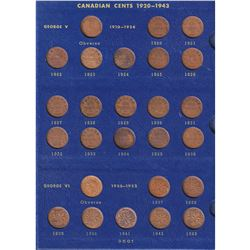 Estate Lot of 1920-1968 Canadian Small Cents in Blue Whitman Album - Includes Every Date! 53pcs