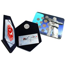 2006 Canada $5 Snowbirds Coin and Stamp Set & 2010 Vancouver Olympics Inukshuk 25-cent 14-Coin Colle