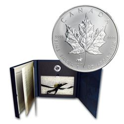 1998 Canada $5 RCMP Privy 1oz Fine Silver Maple Leaf Set (Folder lightly scuffed). TAX Exempt