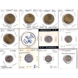 Estate Lot of Miscellaneous British Columbia Transportation Tokens. 12pcs