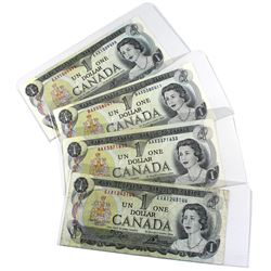 1973 Bank of Canada $1 Replacement Notes Prefixes AAX, BAX, EAX with a Test Note Prefix EXA - All Cr