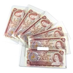 Estate Lot of 1974 Bank of Canada $2 Notes Lawson-Bouey Signatures with 2 Letter Prefixes - BD, BM,