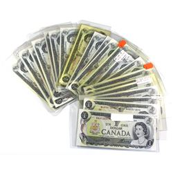 Estate Lot of 1973 Bank of Canada $1 Notes Crow-Bouey Signatures. Notes feature a full prefix run of