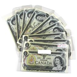 Estate Lot of 1973 Bank of Canada $1 Notes Crow-Bouey Signatures. Notes feature a partial prefix run