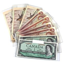 Estate Lot of Mixed $1 & $2 Bank of Canada Notes - 1954 $1, 1967 $1, 4x 1974 $2 & 3x 1986 $2. All di
