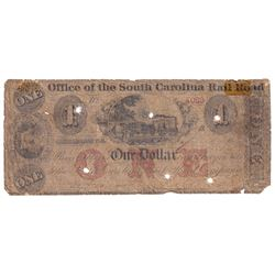 1800's USA Office of the South Carolina Rail Road $1 Obsolete Currency Note, S/N: 4069 (Impaired).